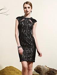 Cocktail Party Dress - Black Plus Sizes Sheath/Column Halter / High Neck Short/Mini Satin