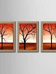 Oil Painting Modern Abstract Scenery Set of 3 Hand Painted Natural linen with Stretched Frame