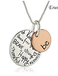 """Euner® Two-Tone """"Be"""" Graffiti Charm Necklace Two Piece Silver Rose Gold Plated Pendant Necklace Women For Christmas Gift"""