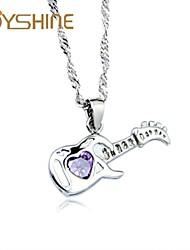 JOYshine women's s925 Silver Guitar Pendant Silver Necklace
