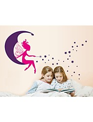 Wall Stickers Wall Decals, Style The Girl on The Moon PVC Wall Stickers