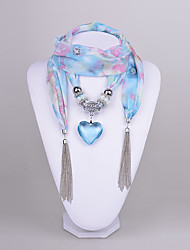 D Exceed Women's  Chiffon Scarf necklace Aquamarine Heart Pendant Scarf Necklace with tassels