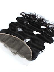 """1pcs / lot 10inch 13 """"x4"""" brésiliens vierges vague de corps de fermeture de cheveux de dentelle de cheveux humains frontale fermeture"""