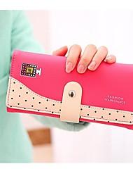 Women's PU Leather Candy Color Polka Dot Print Bi-Fold Purse