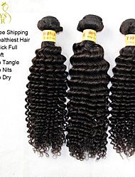 "3 Pcs Lot 12""-30"" Unprocessed Raw Malaysian Kinky Curly Virgin Hair Wefts Natural Black Remy Human Hair Weaves Bundles"