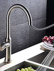 Contemporary Pull-out/­Pull-down Deck Mounted Pullout Spray with  Ceramic Valve Single Handle One Hole for  Brushed , Kitchen faucet