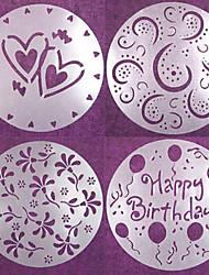 4 pièces rondes gâteau fondant moule artisanat de décoration coupe fleur coeur sugarcraft 20 * 20 * 0,12 cm