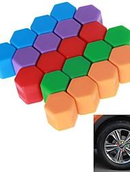 17# Hexagonal Nut Silicon Material Design Car Wheel Hub Screw Decoration Cover (20PCS/19mm)