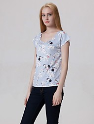 Women's Casual The Little Dogs Print Round Neck Inelastic Regular T-shirt