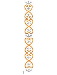 5Pcs Metal Waterproof Golden Silver Heart  Pattern Arm Tattoo Stickers For Body Art