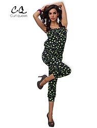 OBELL® Women's Sexy/Bodycon/Casual Elastic Printing Sleeveless Jumpsuits (Vicose)