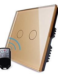 Livolo uk Standard Luxus goldenen Kristallglasplatte, 2-fach 1-Weg, Heimat Licht Remote Touch-Schalter