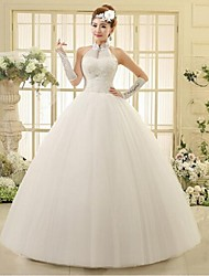 Ball Gown Ankle-length Wedding Dress -Halter Tulle