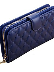 MEGA Women's or Men's Diamond Lattice Sheepskin Long Wallets Genuine Leather Day Clutch Wallets Purses