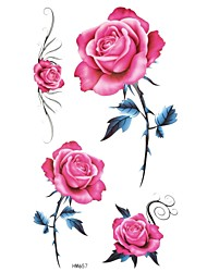 5Pcs   Waterproof Color Four Roses Pattern Tattoo Stickers