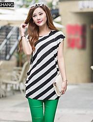 bs®women der Streifen losen Baumwolle Kurzarm-langes T-Shirt