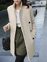 Women's Slim Plain Double Breasted Tweed Trench Coat