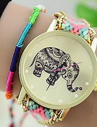 The New Women's Original Ethnic Woven Korean Version Exquisite Handmade DIY Elephant  Bracelet Watch Cool Watches Unique Watches Fashion Watch