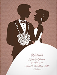 Personalized Wedding Invitations Bride and Groom Pattern Save The Date Paper Card 15cm x 12.5cm 50pcs/Set