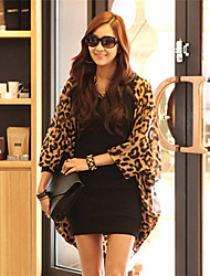 Susan Women's European Chiffon Leopard Long Sleeve Bat Sleeve Cappa