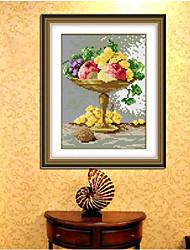 Cruce de diamantes florero 3d bricolaje bordados de punto de baño fruta hogar decorativos artes pegatinas resina costura 22 * 28cm