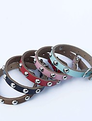 Cat / Dog Collar Adjustable/Retractable / Cosplay / Studded / Rivet Red / Black / Blue / Brown / Pink Genuine Leather