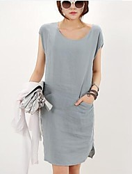 Women's Forest Girl Round Collar Casual Pure Color Waisted Dress