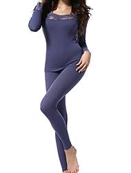 mulheres esticar a fibra febre corpo conjunto de roupa interior térmica