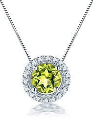 925 sterling silver Necklaces for Women natural Peridot stone