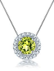 925 colliers en argent sterling pour les femmes de pierre péridot naturel