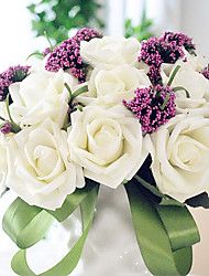 A Bouquet of 30 PE Simulation Roses Wedding Bouquet Wedding Bride Holding Flowers