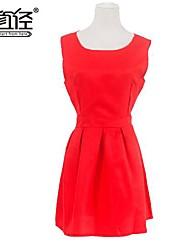 Women's Euro Sweet Backless Sleeveless Above Knee Dress