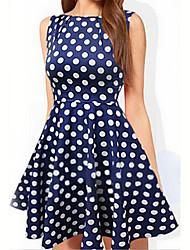 Sinuo   Women's Sexy Round Sleeveless Dresses (Cotton)