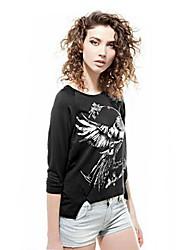HYD Women's Animal Motifs Ms Irregular Cotton Long Sleeve T-shirt