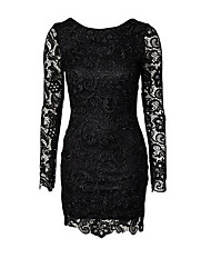 Women's Party/Cocktail / Going out Sexy Lace Dress,Solid Round Neck Mini Long Sleeve Red / Black Cotton / Polyester Summer Mid Rise