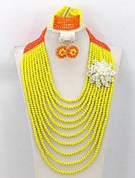 New Design Long Crystal Beads Jewelry Set African Wedding Bridal Jewelry Set AC062