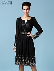 Women's Sexy/Casual/Party/Plus Sizes Micro-elastic Long Sleeve Knee-length Dress (Chiffon/Polyester)