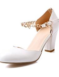 Chaussures Femme - Habillé - Violet / Blanc / Beige / Corail - Gros Talon - Talons / Bout Arrondi - Talons - Cuir Verni