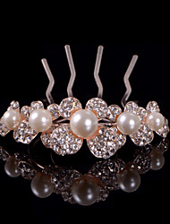 Fashion Flowers Imitation Pearl Hair Combs With Wedding/Party Headpiece