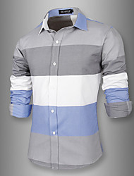 White Men's Fashion New Contrast Color Causal Slim Stripes Long Sleeve Shirt