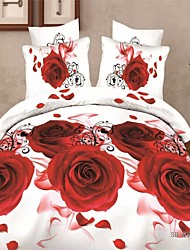 3D Red Rose Printing Bed Cover Duvet Covers Include Pillowcase Bed Flat Sheet Duvet Cover