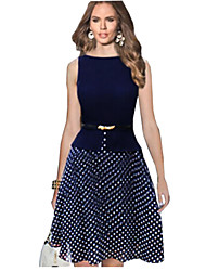 Women's Polka Dots Fit Flare Dress