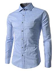 White Men's Fashion New Fashion Check Floral Print Long Sleeve Shirt