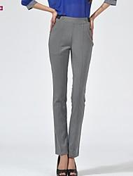 Women's Gray Straight Pants , Plus Sizes/Casual