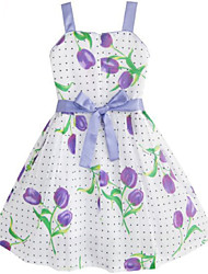 Girl's Pink / Purple Dress,Floral Cotton Summer