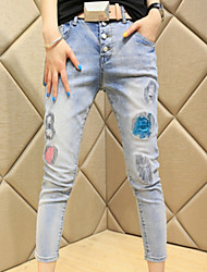 Women's Casual Loose Breasted Denim Pencil Pants