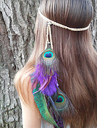 Peacock Feather Headband, Native American, Braided Headband, Indian Headband, Peacock Headdress, Heather Hairband