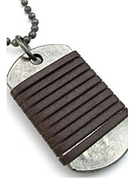 Mens Dog Tag Pendant Leather Alloy Necklace Chain, Brown