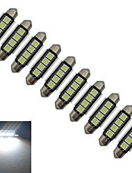 JIAWEN® 10pcs Festoon 42mm 1.5W 4x5050SMD 80-90LM 6000-6500K Cool White Light LED Car Light (DC 12V)