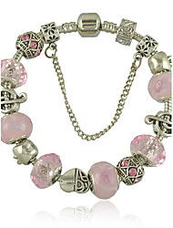 Women's New DIY Bracelet  With Pink Glass Bead Safety Clasp Gifts for Girls 2015